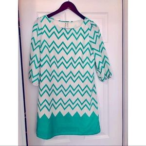 Pink Owl Chevron Dress with sleeves